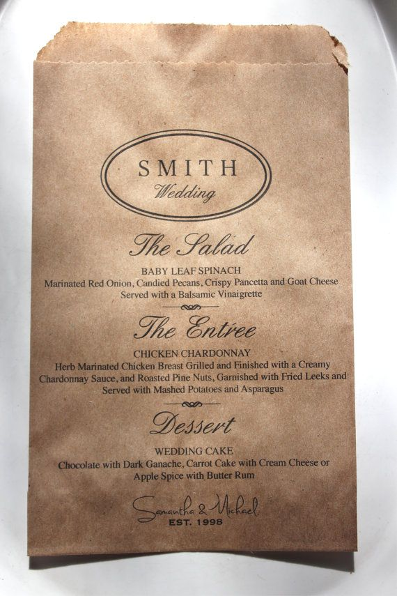 Personalized Wedding Menu Bags Great For Your Guests Dinner Plate