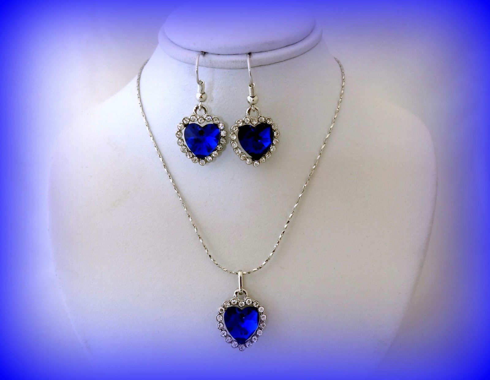 Blue crystal heart necklace set happy birthday gift for her girls