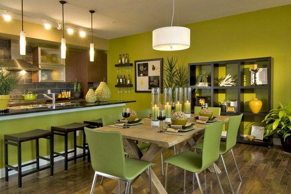 Green Paint Color Kitchen Interior Design Dining Room Stylish Dining Room Dining Room Interiors