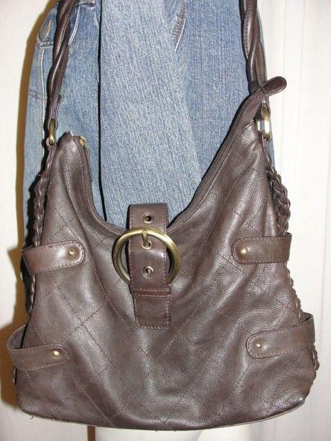 Michael Rome Design Purse Brown Quilted W Braids Leather Hobo Shoulder Handbag Michaelromedesign