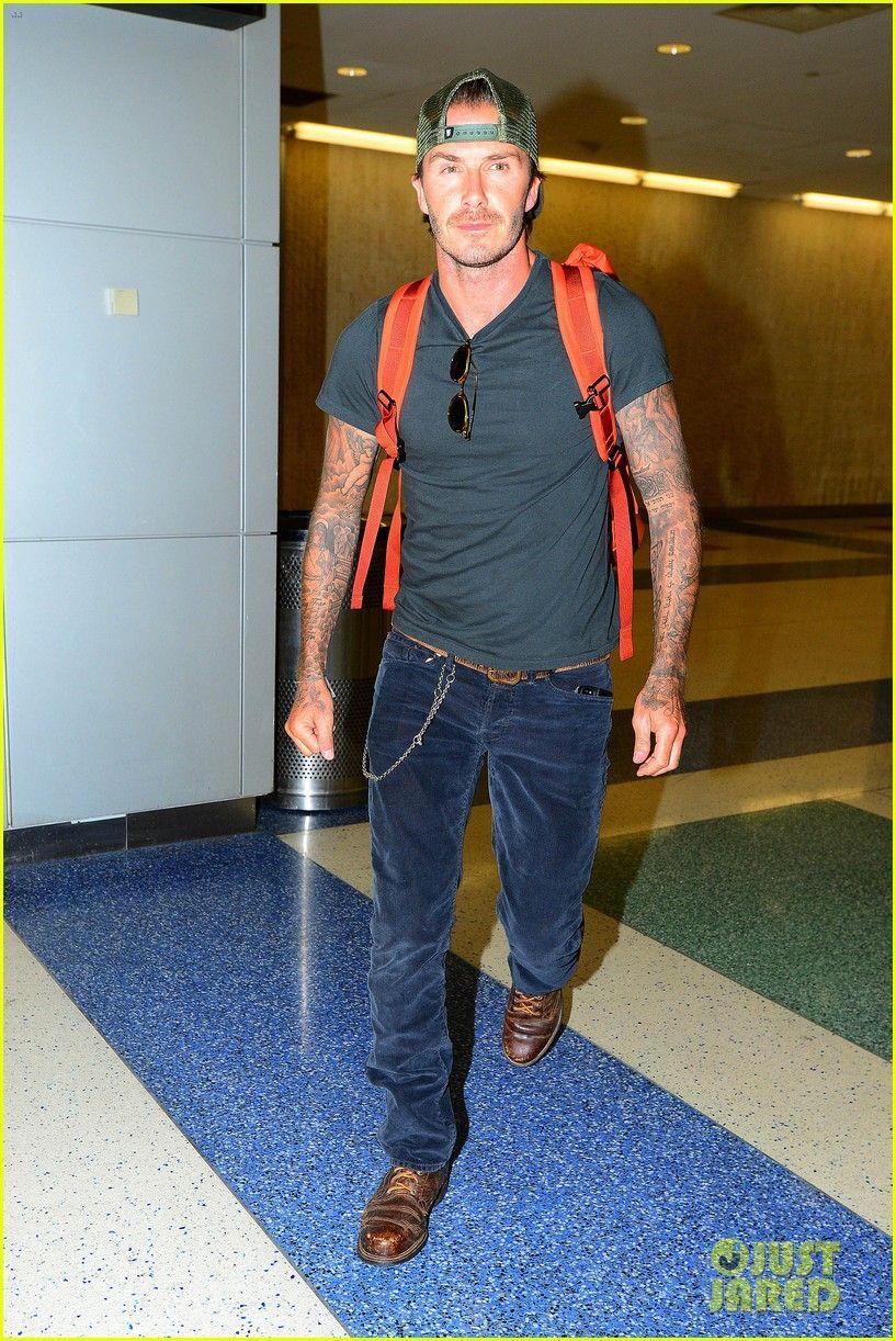 David Beckham in corduroy