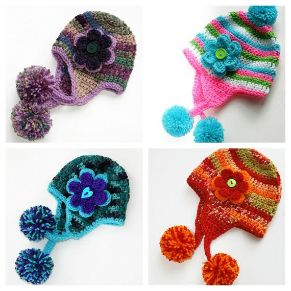 Earflap Toddler Girl hat pom crocheted Custom 12-36 months Made to ...