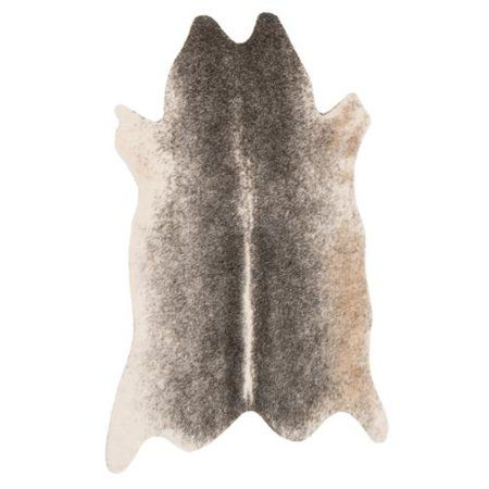 Liven up your flooring with this attention-grabbing faux-fur area rug. Available in three sizes to suit a variety of room configurations, this unique rug adds earthy rustic-style appeal and free-form aesthetics to your decor. The durable, machine-made weave is well-suited for high-traffic areas.Made of faux fur, rawhide, synthetic fibers, and acrylicMachine-made weaveIvory and grey acrylic faux fur on rawhide baseFree-form shape for earthy, organic charmSuitable for high-traffic areasLatex-free