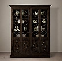 Georgian Fretwork Glass 4-Door Cabinet