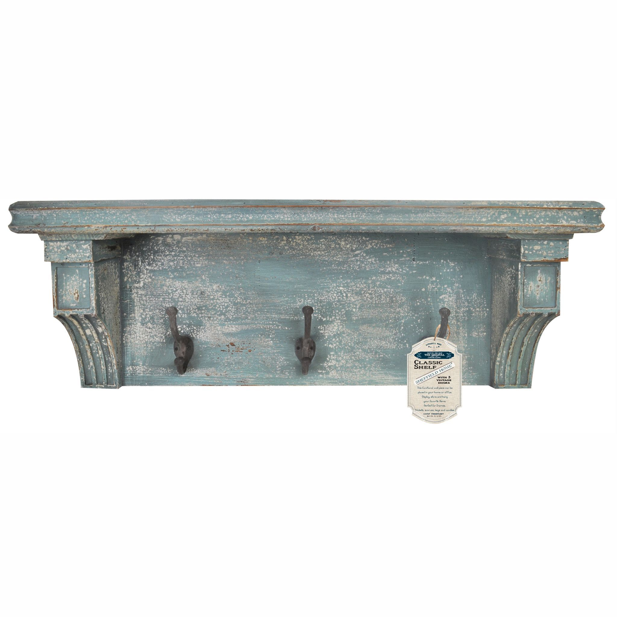 Distressed Rustic Wood Vintage Wall Shelf With Hooks