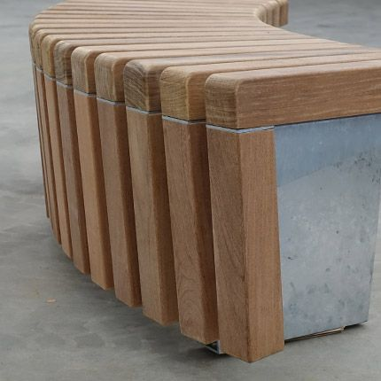 STREETLIFE Solid Skirt Circular Bench. Close-up FSC Hardwooden slats #StreetFurniture #ModernDesign #FSCHardwood