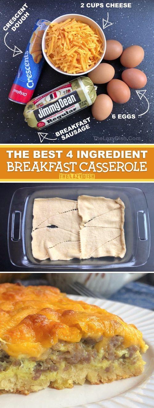 Photo of Easy Cheesy Sausage Breakfast Casserole (4 ingredients!) The BEST breakfast recipe idea for a crowd!