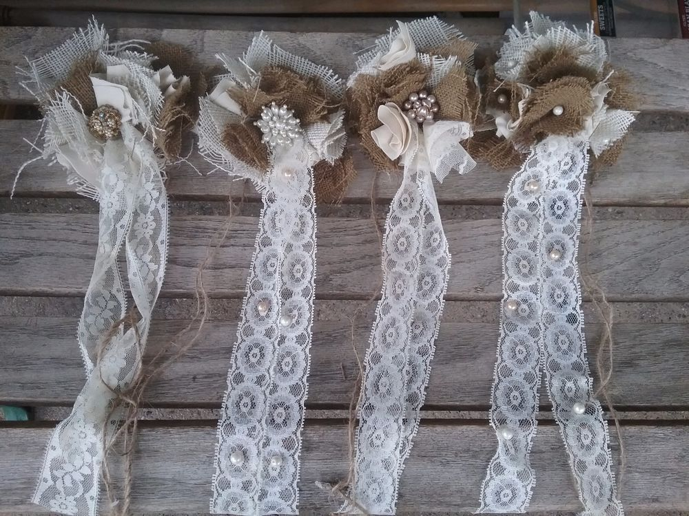 burlap Chic flower Curtain Tie-Backs set handmade tattered New four lace  #Handmade #Shabbycottagechic
