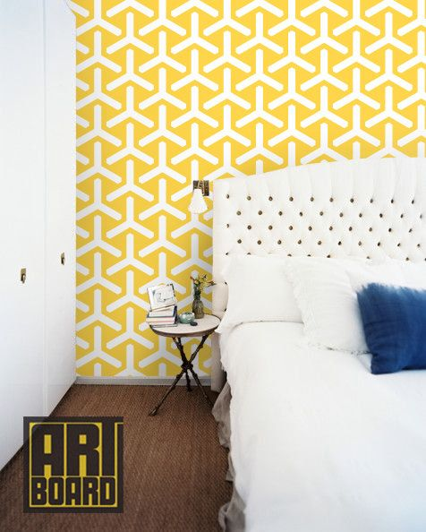 Wallpaper You Can Color trident+daffodil++self+adhesive+diy+wallpaper+home+by+artboardi,+$