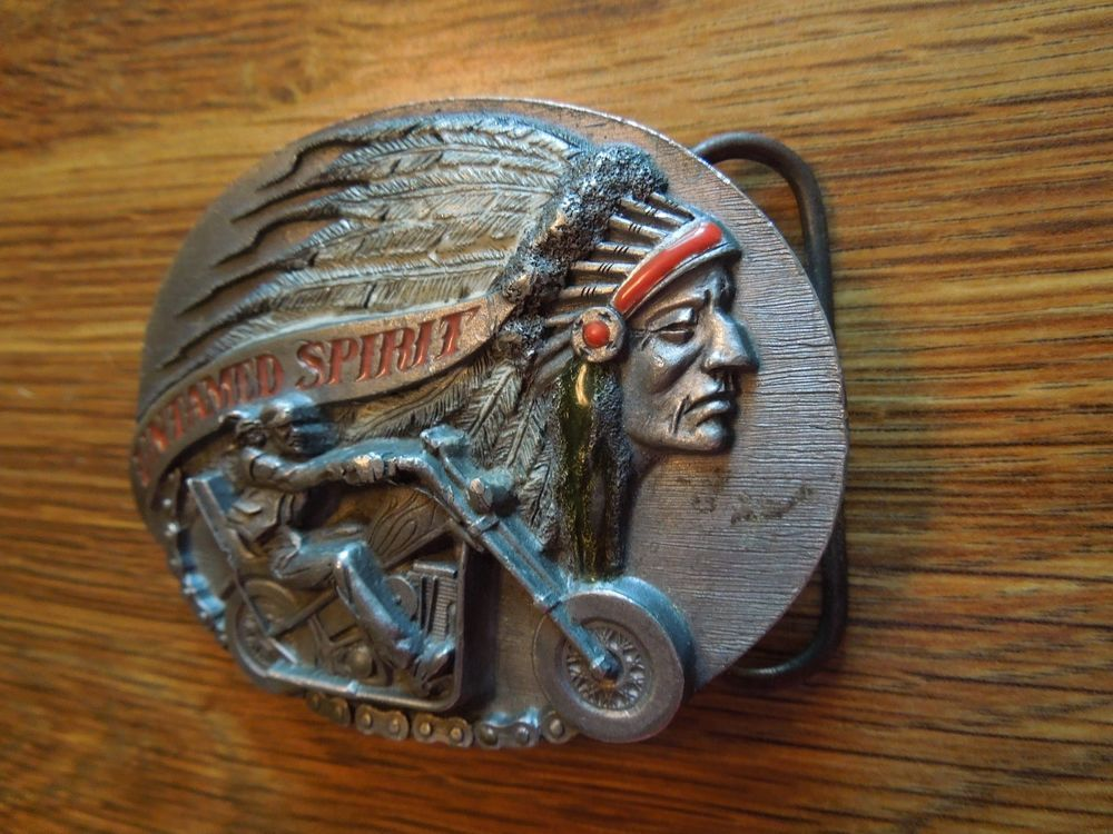 Native American Belt Buckle Biker Untamed  Spirit Siskiyou 1985 Born To Be Free #Siskiyou #Novelty