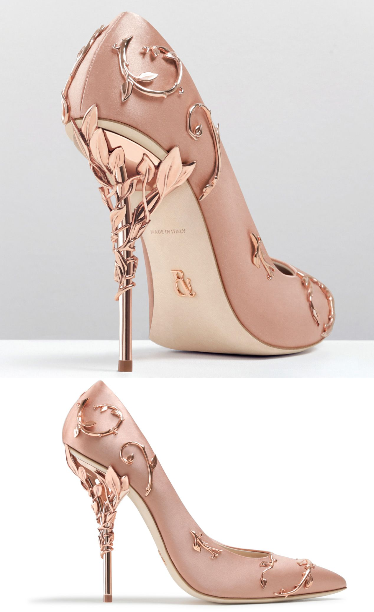 Ralph And Russo Rose Gold Wedding Pumps With Ornamental Filigree Leaves Spiralling Up The Heel
