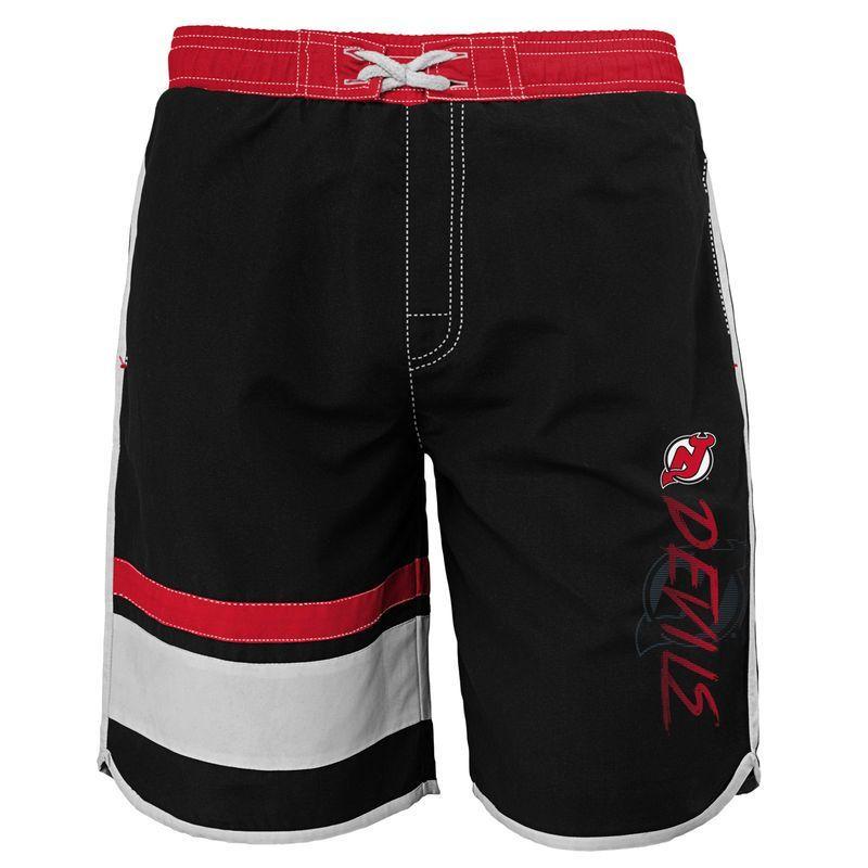 New Jersey Devils Youth Color Block Swim Trunks - Black