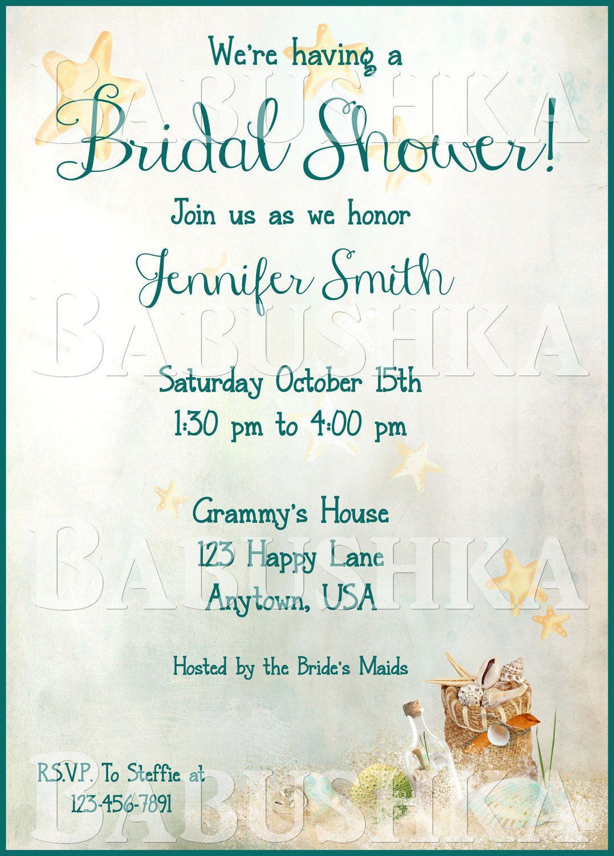 Star Fish Themed Bridal Shower Invitation/ Beach Theme Bridal Shower ...
