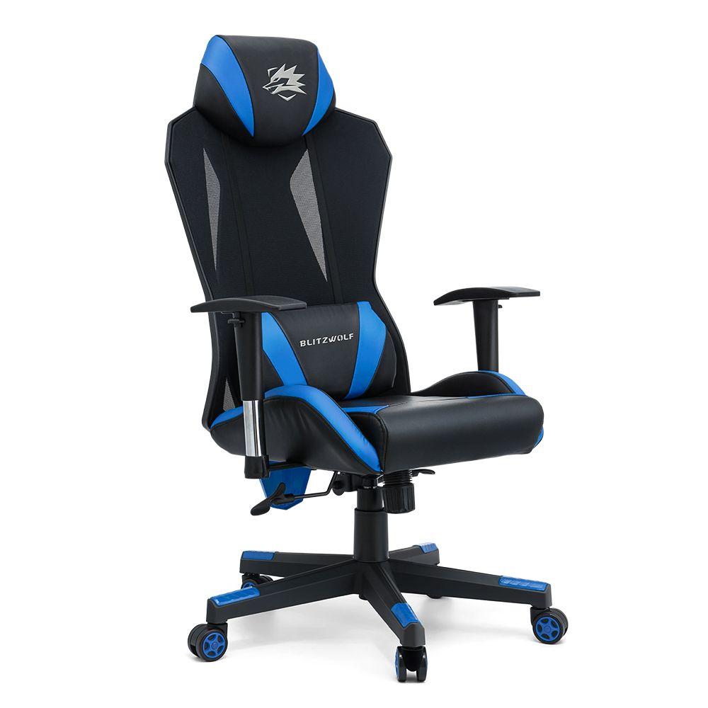 Gaming Stuhl Mit High Density Mesh 150 Liegend 2d Verstellbare Armlehne Kissenstutze Verbreitertes Kissen Rucken Home Office Blau Kissen Sitzkissen Blau