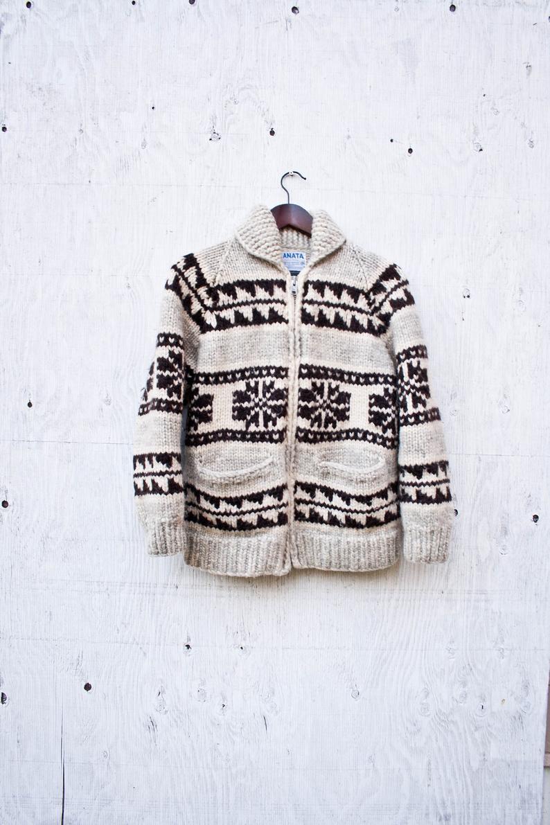 Grey Wool Cowichan Sweater Zip Up Kanata Hand Knit