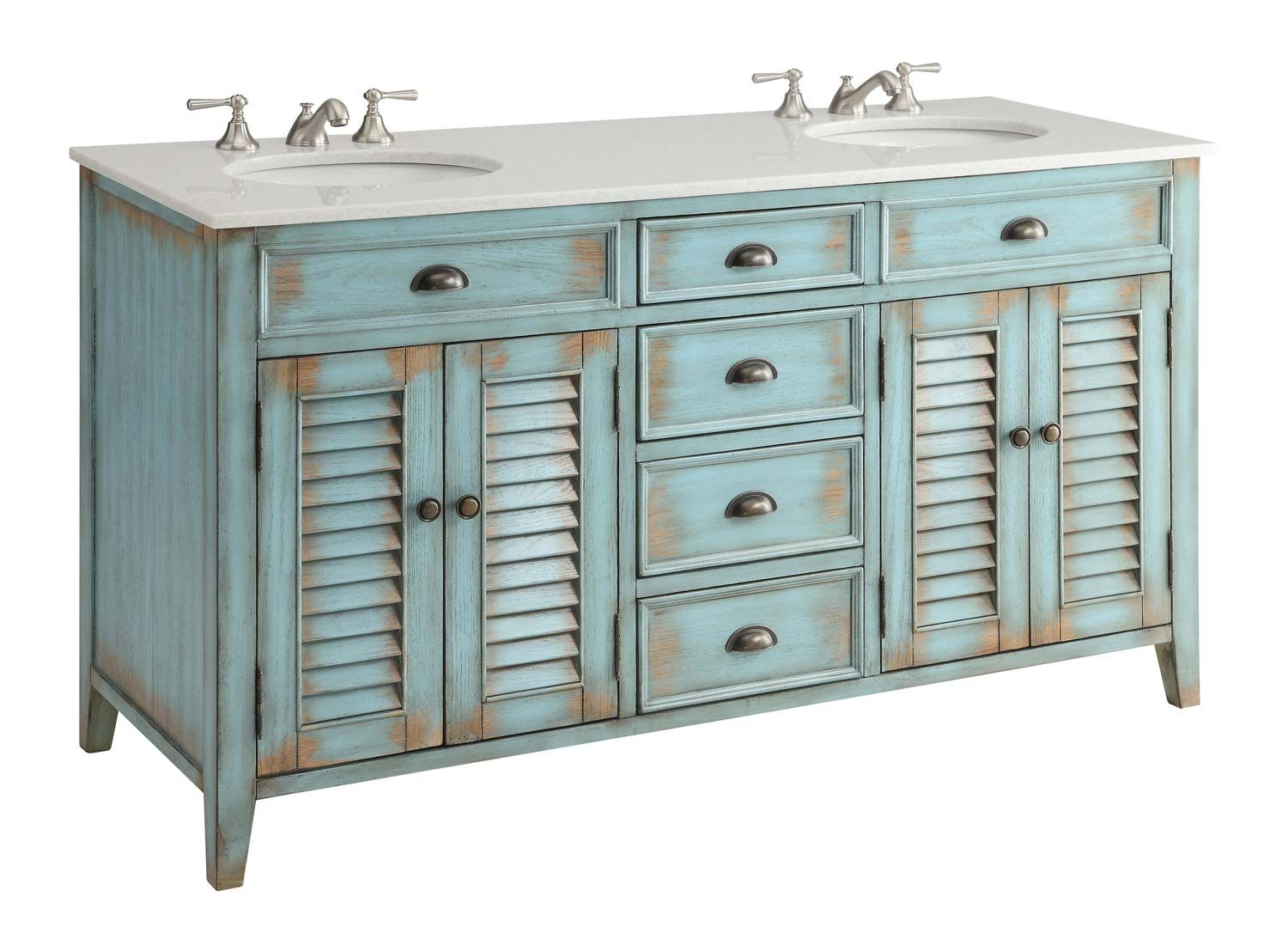 Adelina 60 Inch Antique Double Sink Bathroom Vanity, Marble Counter Top,  White Under Mount Porcelain Sinks, Large Storage Compartment, Back Panel  Pre Cut ...