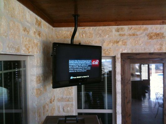Ceiling Mounted Tv For Bedroom On A 360 Swivel May Need A Tiny Track To Turn Around Against Wall French Door To Fa Ceiling Tv Patio Tv Tv Hanging From Ceiling