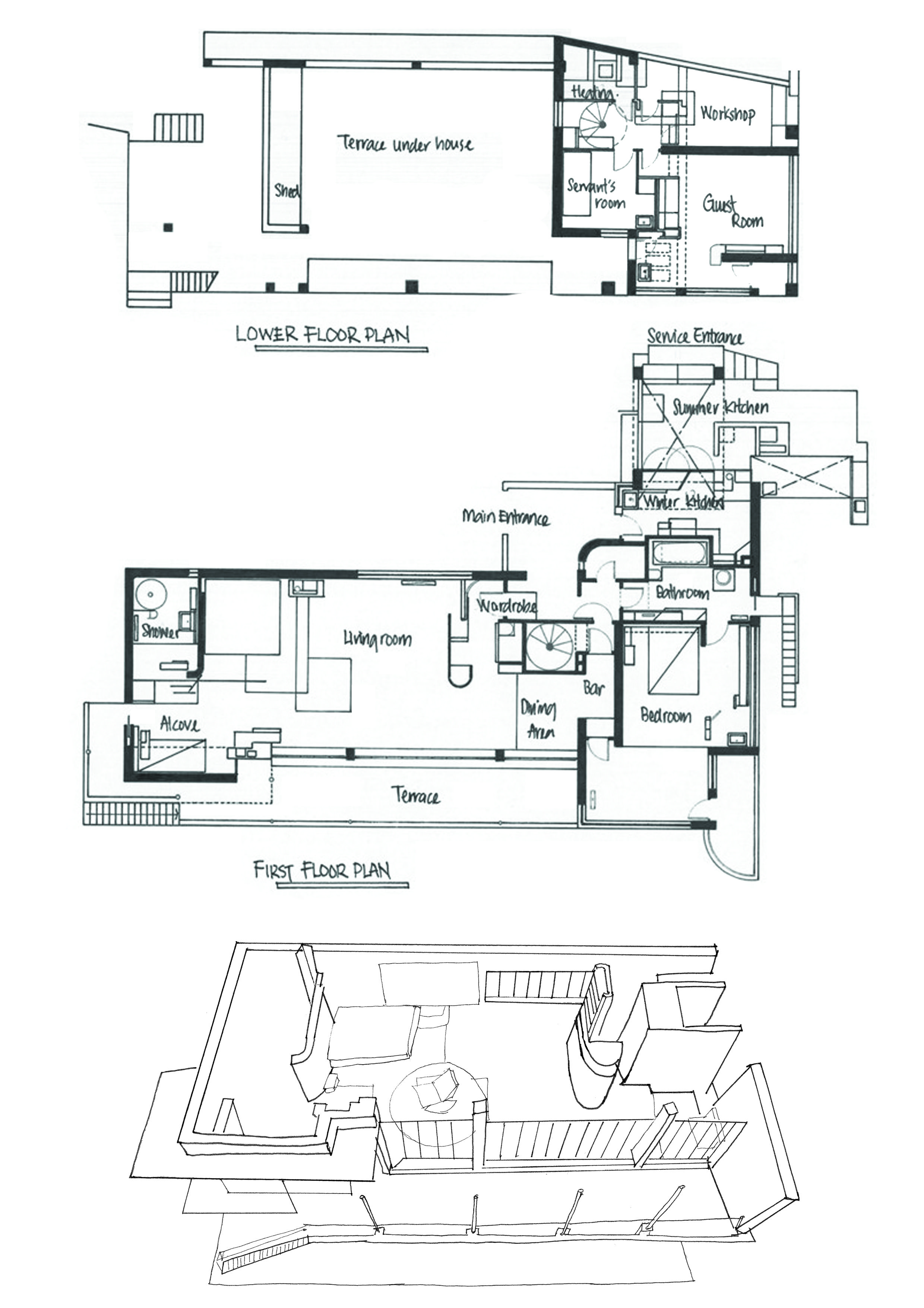 Pin By Sahar On E 1027 Architecture Plan Grey Houses Architecture