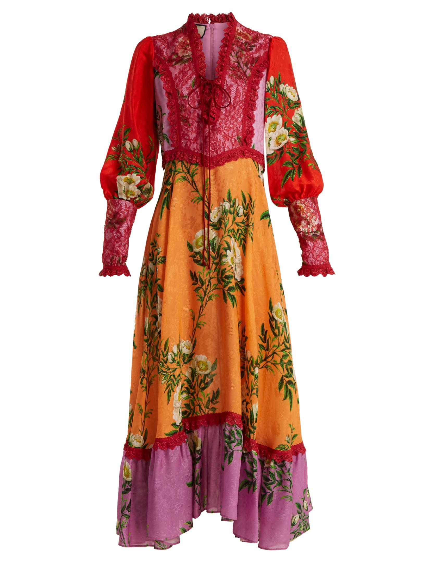 f9c45fee82788 Vestido de crepe con estampado de flores de contraste | Gucci |  MATCHESFASHION.COM