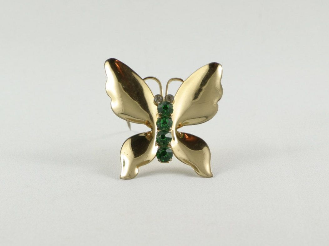 Vintage sterling coro craft gold vermail butterfly brooch with green vintage sterling coro craft gold vermail butterfly brooch with green white crystals circa signed mid century pin valentine gift by valuevintagedotca on negle Image collections