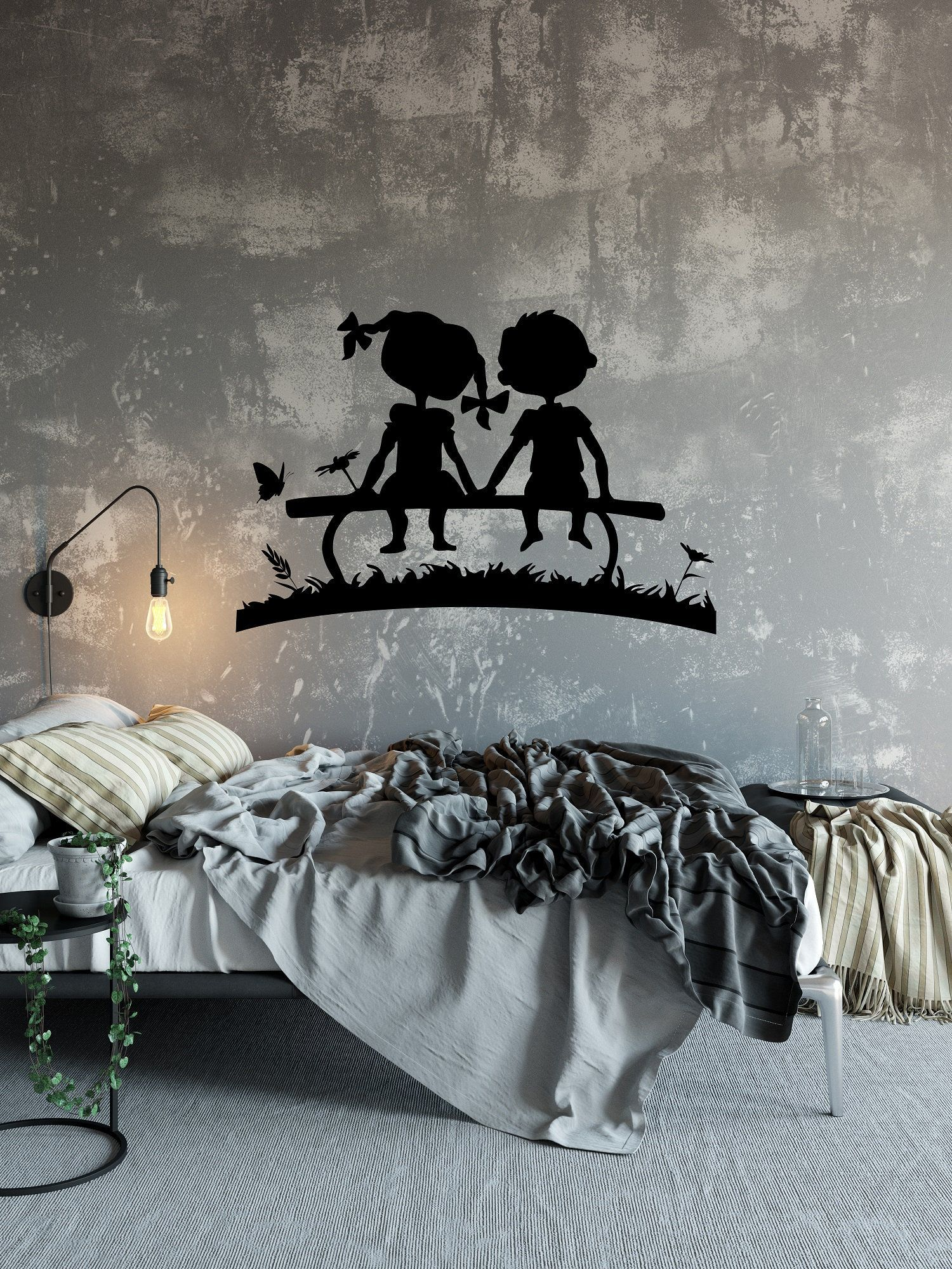 romantic couple wall art decal romantic room decor on wall stickers for kids id=57297