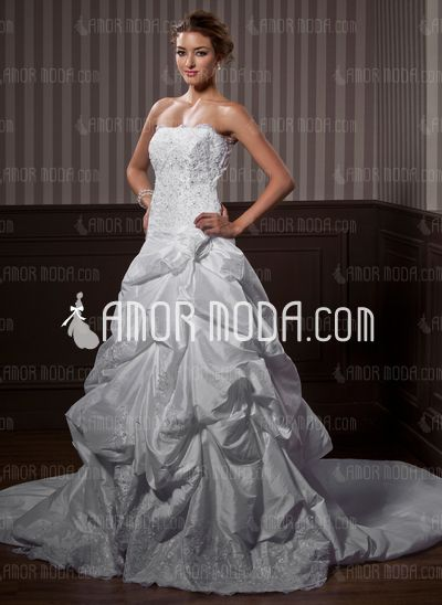 Wedding Dresses - $223.99 - Ball-Gown Strapless Chapel Train Taffeta Wedding Dress With Ruffle Lace Beadwork Flower(s) (002012844) http://amormoda.com/Ball-gown-Strapless-Chapel-Train-Taffeta-Wedding-Dress-With-Ruffle-Lace-Beadwork-Flower-S-002012844-g12844