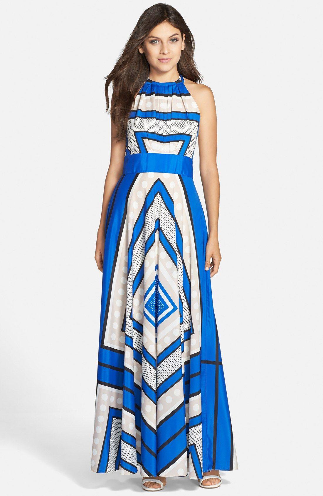 7347df4cb1b Eliza J Scarf Print Crêpe de Chine Fit & Flare Maxi Dress (Regular & Petite)