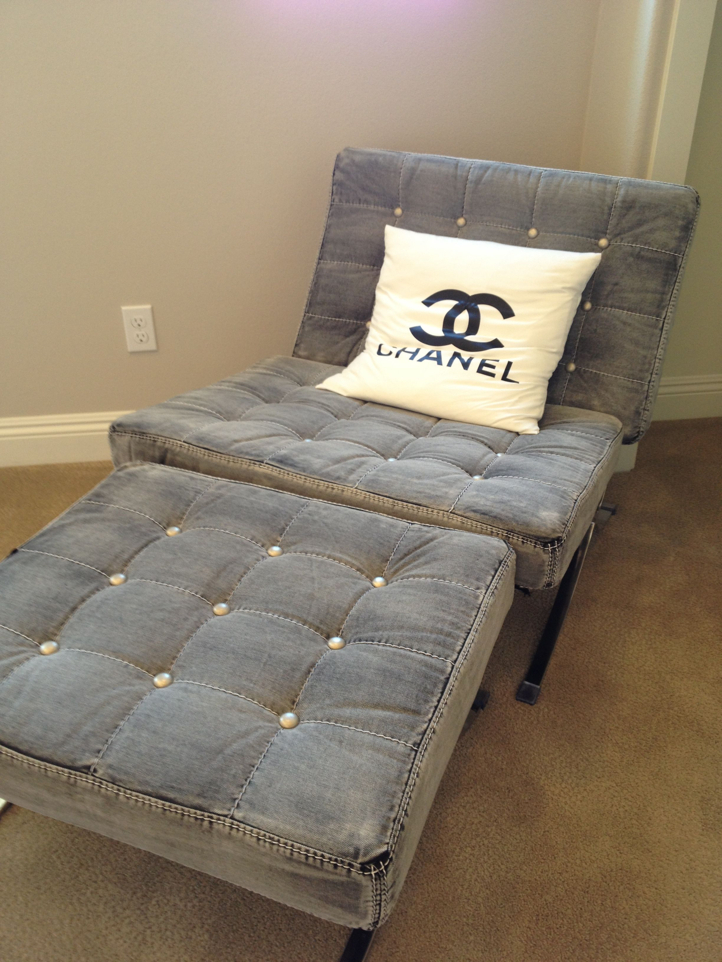 Room. Fashion inspired home decor   Chanel inspired denim chair with