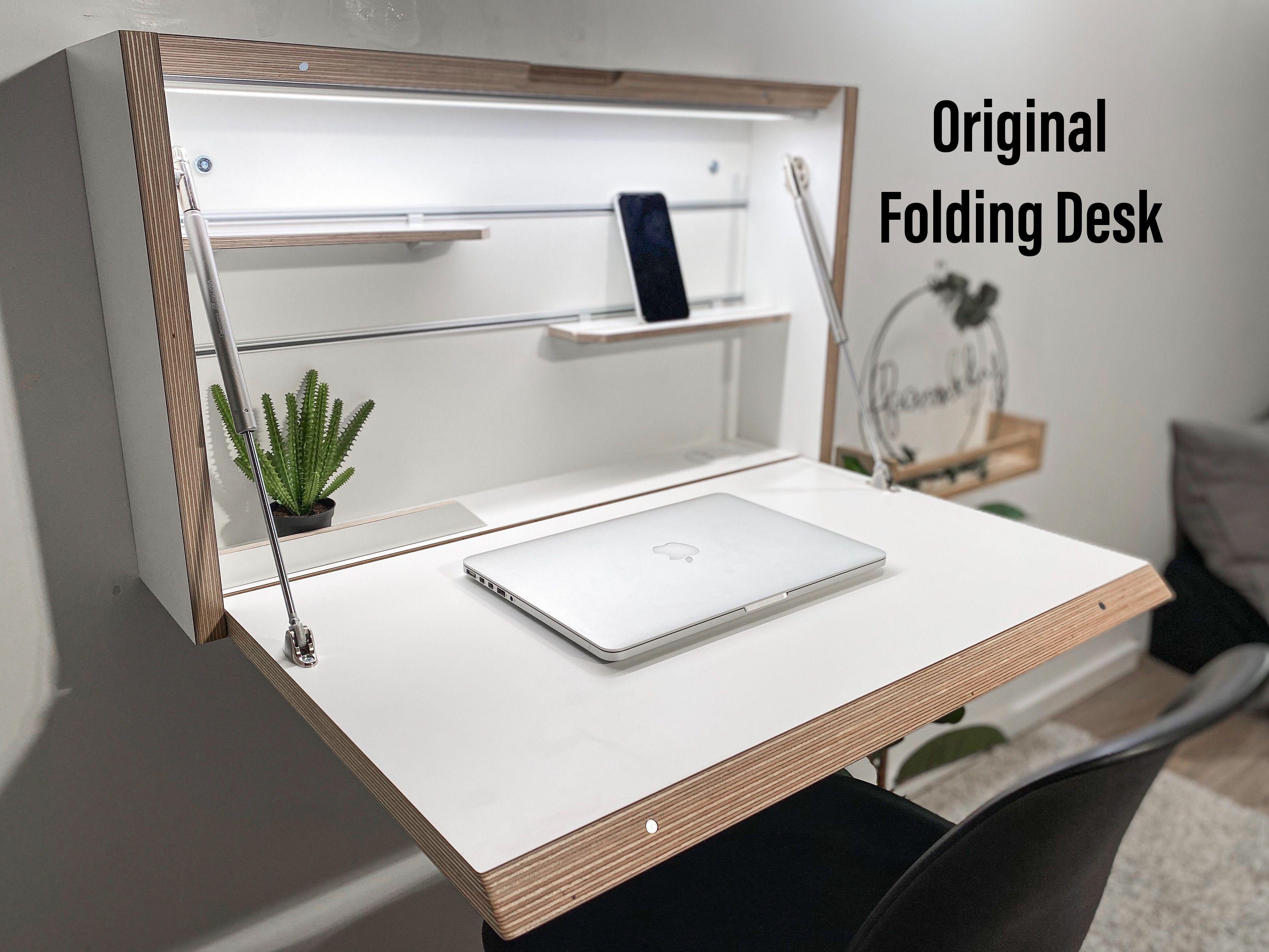Wall Mounted Folding Desk Space Saving Desk Office Desk Etsy In 2020 Space Saving Desk Folding Desk Home Office Desks