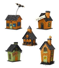 small glitter houses - Arrange this set of 5 spooky dwellings on your mantle, a table, a windowsill, or wherever you wish.