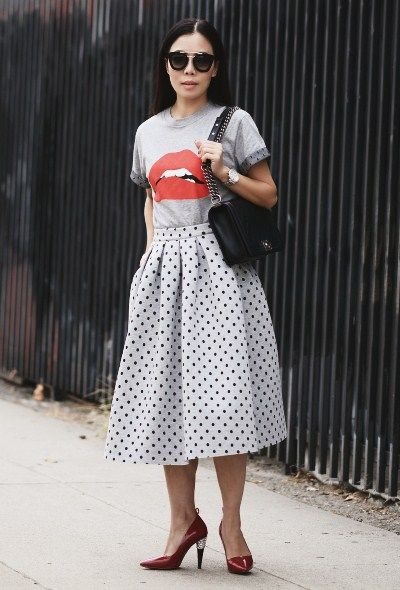 3219c806f8fd 9.14 red lips and polka dots (REDValentino  lips  tee + Topshop polka dot  full skirt + Lanvin for H M red pumps + Chanel bag + Prada sunnies)