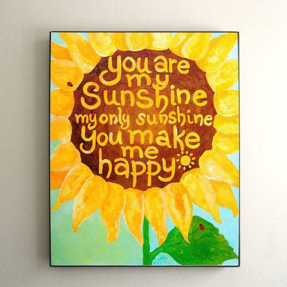 Girls Nursery Print, You Are My Sunshine, 8x10 Sunflower art ...