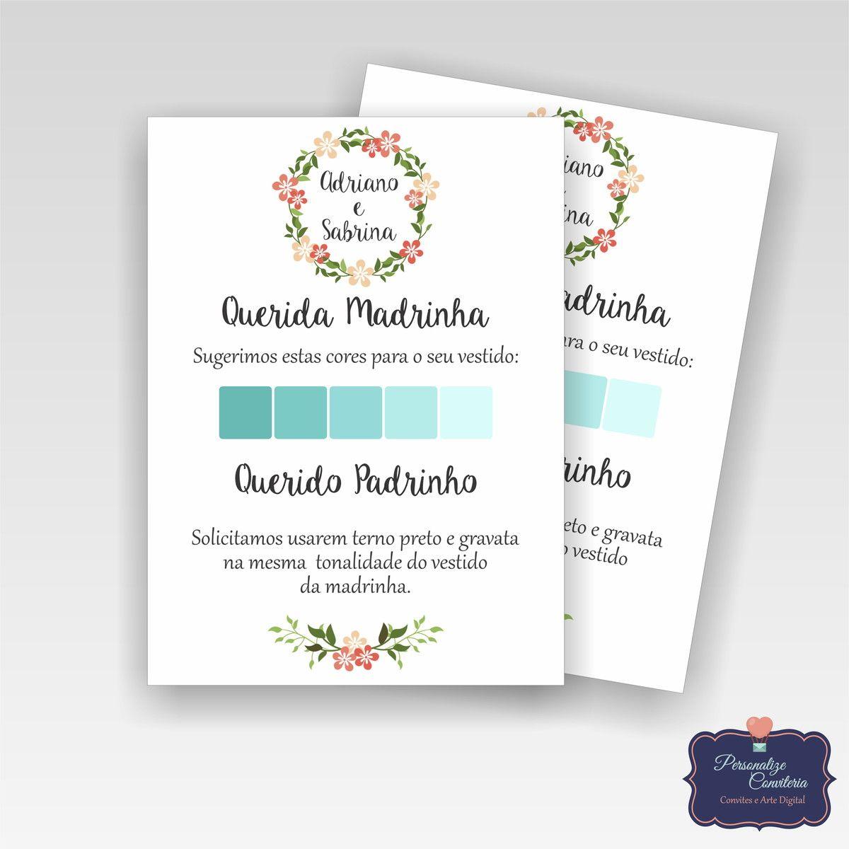 Paleta De Cores Padrinhos Convite Padrinhos Casamento Casamento