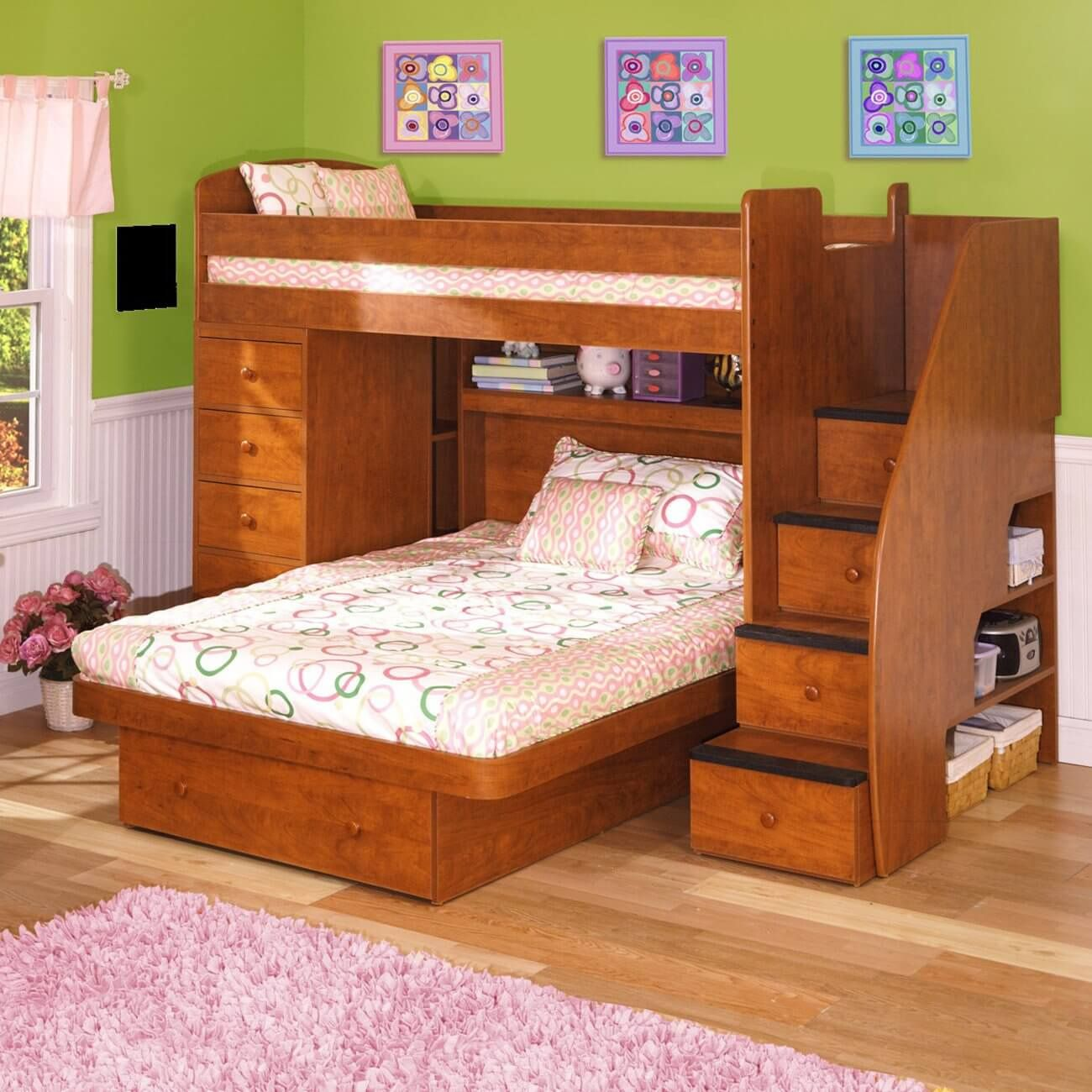 Loft bed with slide and desk  Bunk Beds with A Full Bed On the Bottom  Modern Interior Paint