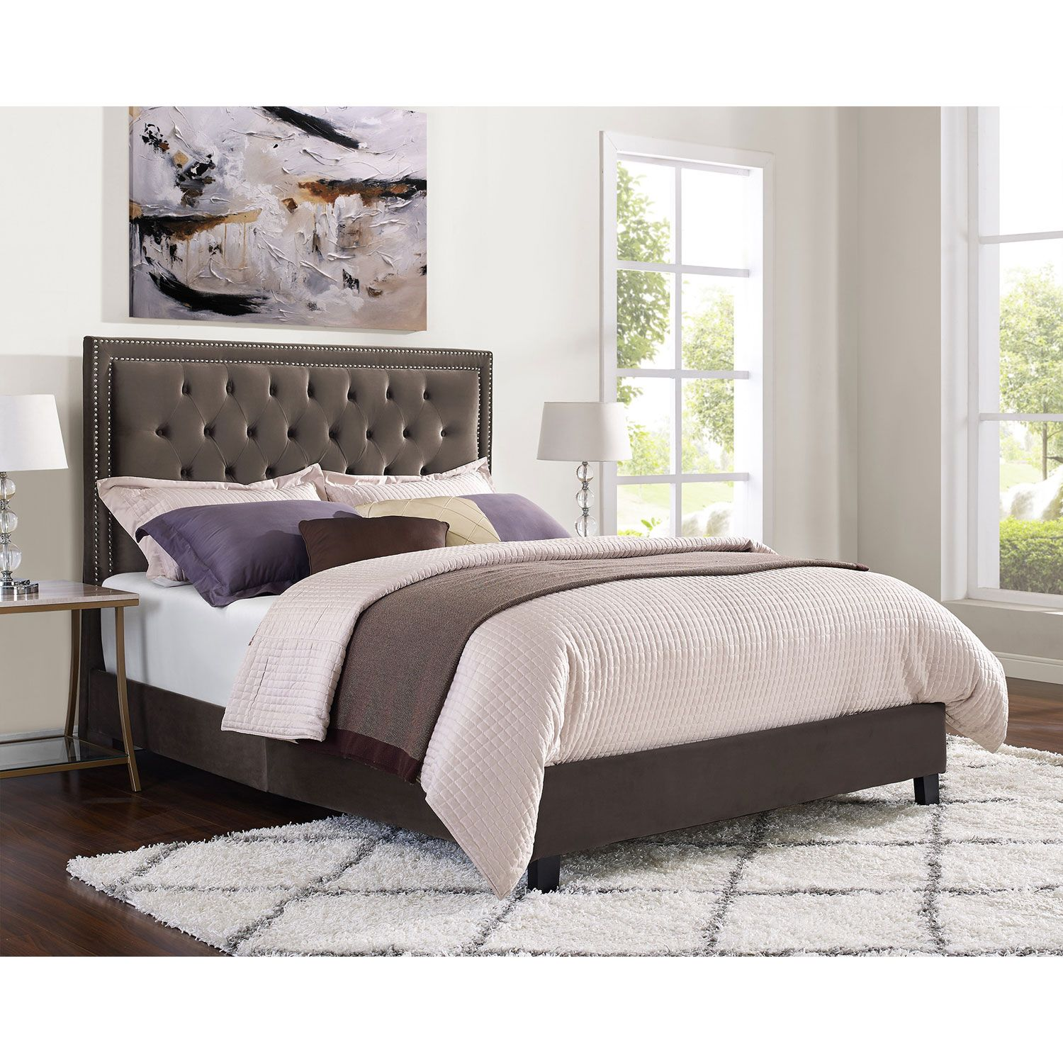 Manhattan 6 Piece Queen Bedroom Set Cherry: Manhattan Contemporary Upholstered Platform Bed