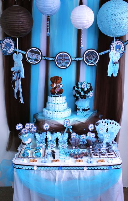 Brown Blue Teddy Bear Theme Baby Shower Party Ideas Photo 6 Of 19 Baby Bear Baby Shower Baby Boy Shower Baby Shower Decorations For Boys