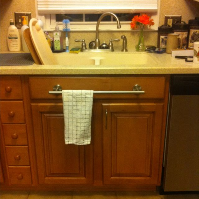 Dish Towel Stuck In Garbage Disposal: Idea Implemented #2! Towel Bar Installed Under Kitchen