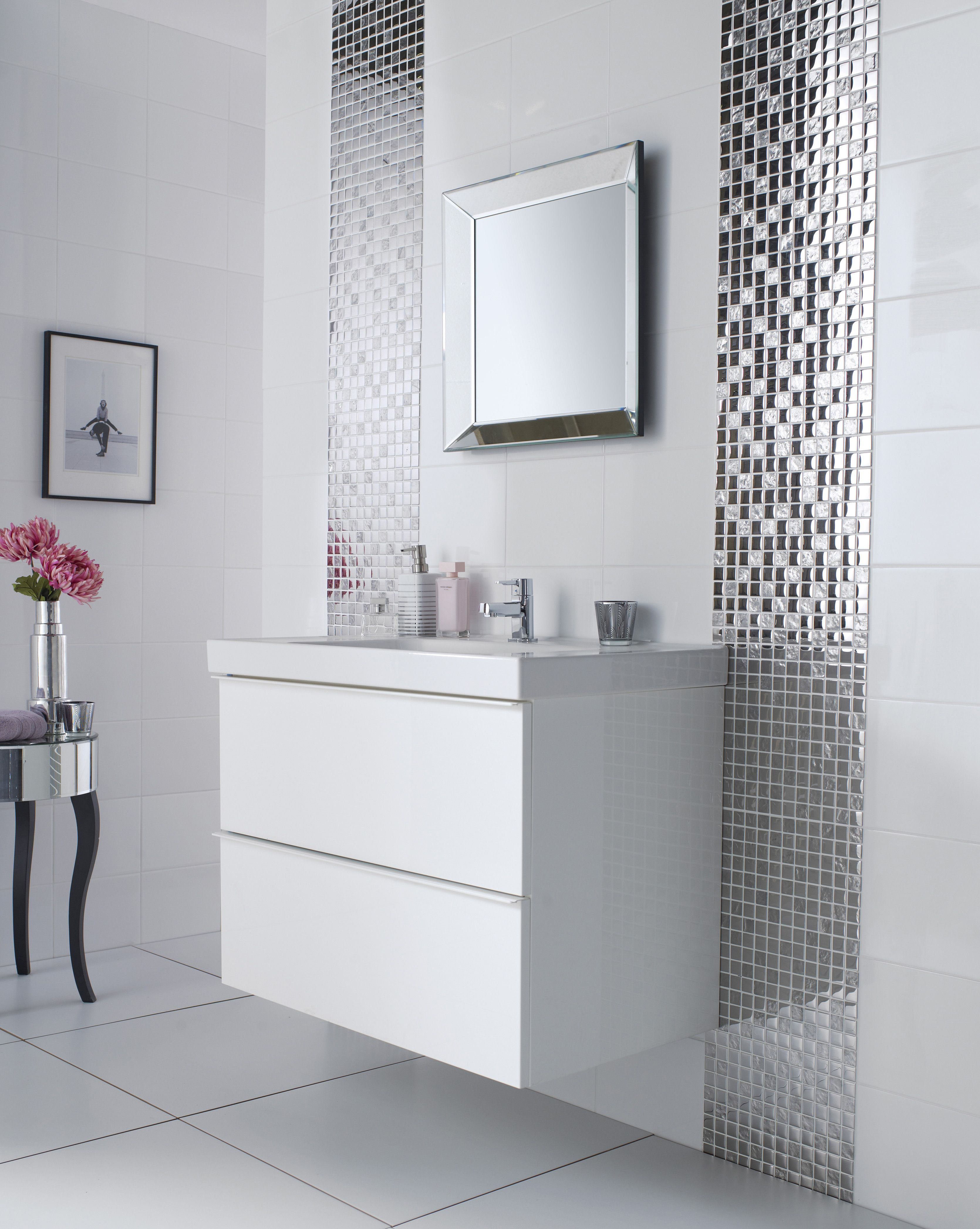 Rectified White Gloss Tile Topps Tiles Mosaic Bathroom Tile White Bathroom Tiles Mosaic Bathroom