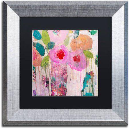 Trademark Fine Art First Kiss Canvas Art by Carrie Schmitt, Black Matte, Silver Frame, Pink