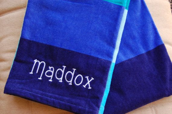 Personalized Beach Towel Blue Or Pink Stripe Towel With Name