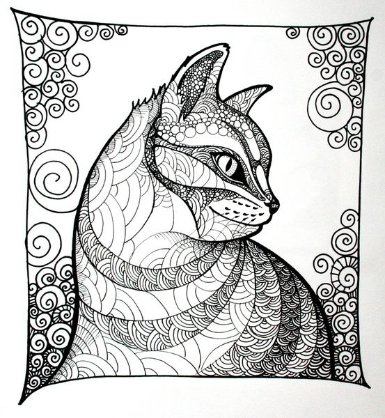 Dreamy Tabby Cat Animal Coloring Pages More Pins Like This
