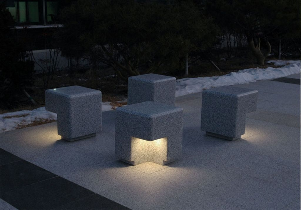 Yard Lighting Lighting Design By Kim Hyunjoo Cube Modern Outdoor Bench And Lighting