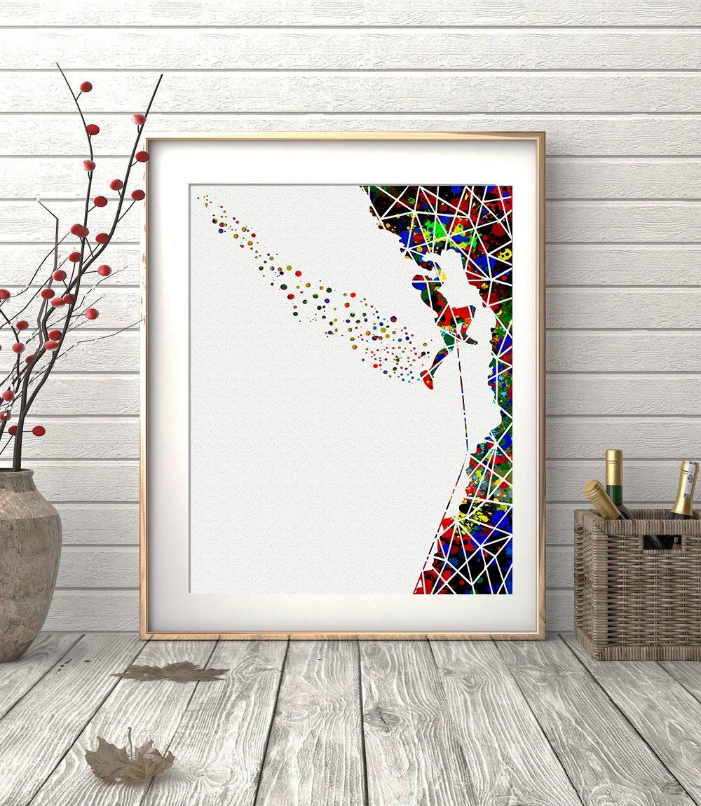 Rock Climbing Geometric Watercolor Posters Art Prints Sports Wall
