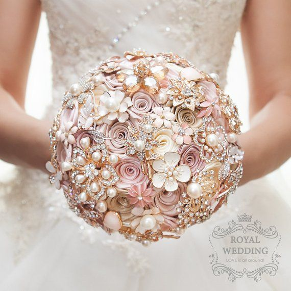 8b9eb9704 Cascade Fabric Brooch Bouquet Pink Ivory Brides Rose Gold Wedding Bouquet  Broach Jewelry Bridesmaids