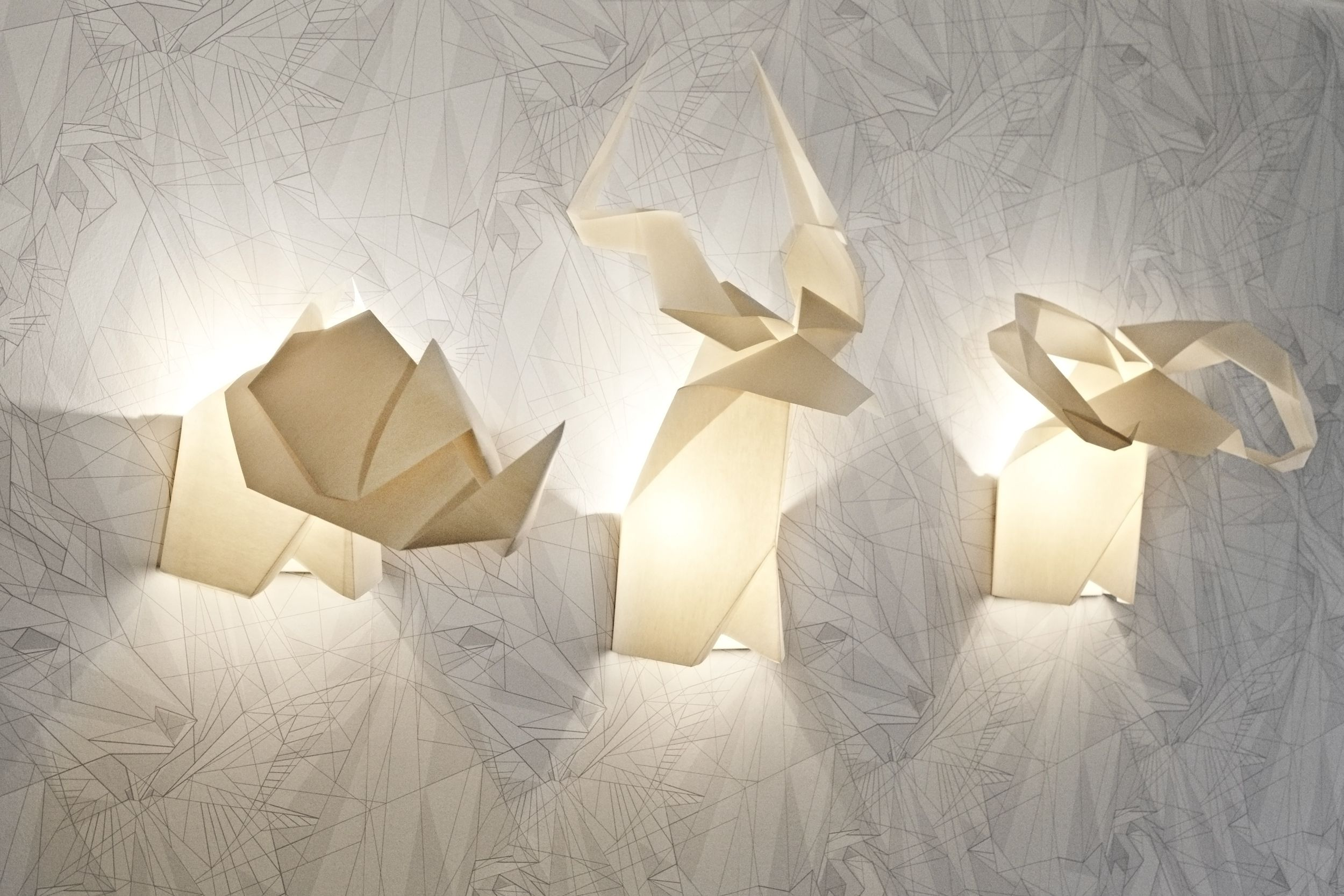 Origamis Hunter lamps from Chilean Si Studio.