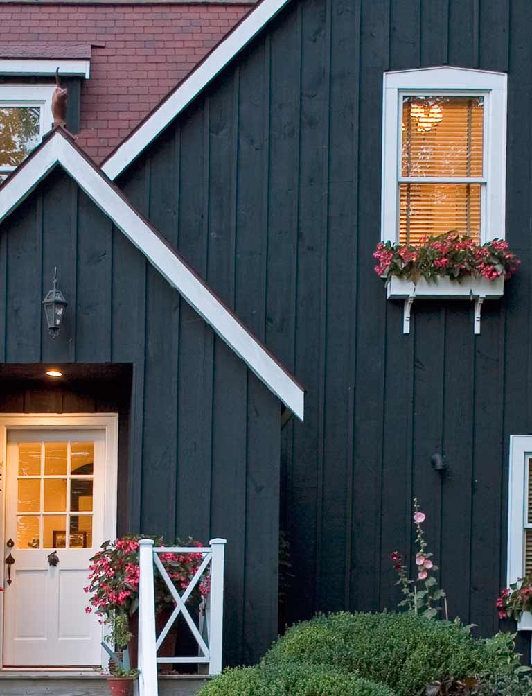Charming cottage with a barn like feel adorable window boxes mgpb architects a cottage in - Exterior blue paint set ...