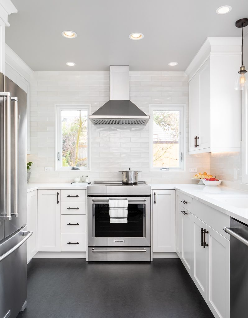 U Shaped Kitchen In White And Grey Small Kitchen Layout Swap In Under 200 Square Feet Model Kitchen Layout U Shaped Kitchen Cabinets Kitchen Remodel Small