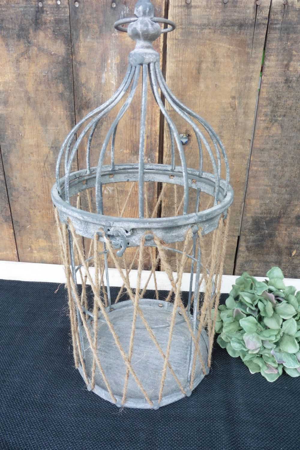 Rustic Wire Metal Jute Rope Bird Cage Primitive Shabby Chic Home ...