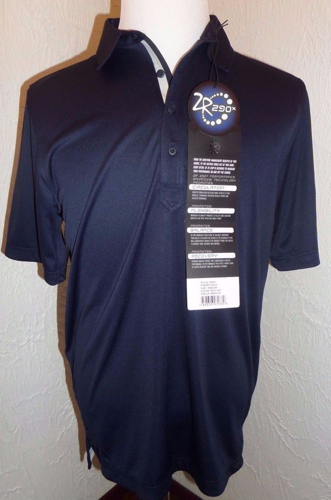 2R ZR 290x Mens Stretch Polo Shirt Top SZ M Navy Athletic Sale US #2R #ShirtsTops