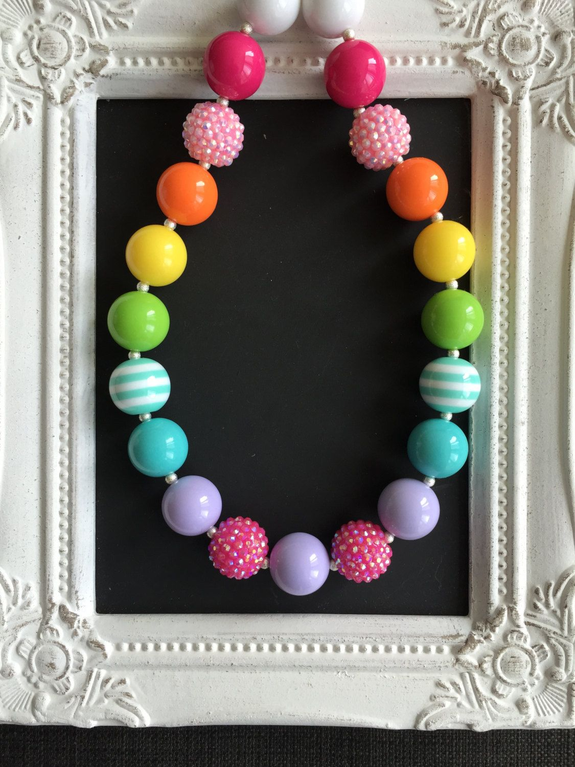 Rainbow bubblegum necklace by LilchicboutiqueLIC on Etsy